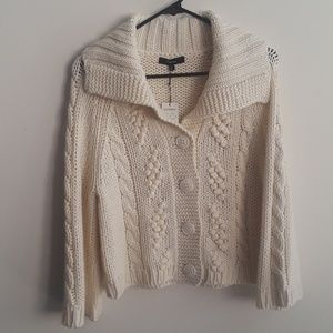 NWT Express Cropped Knit  Sweater  Ivory
